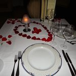 Beautiful Set-Up for Romantic Dinner/Proposal in the French Restaurant! So many guests were taki