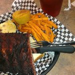 ribs, sweet potato fries