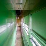 A modern train car hallway