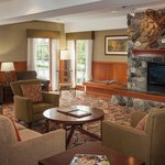 Comfortable lobby with fireplace