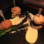 Mini burgers of whale, reindeer and lobster