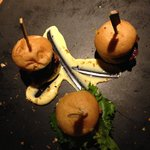 Mini-sliders starter. Thumbs up for the reindeer burger!