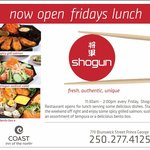 Open every Friday for lunch