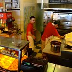 The Kitchen at Stella's....fun watching him make the fresh pizzas!