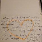 Lovely handwritten Birthday note