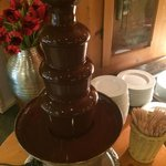 Chocolate fountain for breakfast