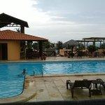 No fim da tarde um mergulho na piscina.
