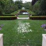 A view out the east wing of the mansion. The flower petals are from an earlier wedding.