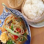 Thai papaya salad and sticky rice