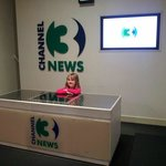 One of my kids trying out the TV Studio