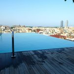 Roof top pool and bar at daytime