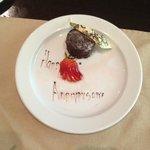 Anniversary dessert in room