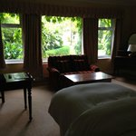 Beautiful garden view, but rooms adjacent can see right in with the curtains open.