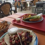 Grilled mahi fish tacos and snapper sandwich. Nice view!