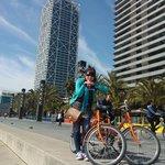 cycling along sea front