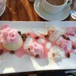 white choc panacotta with turkish delight and pistacio