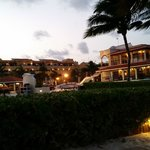 View of resort from beach at night