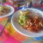 Shrimp toast and chicken fajitas