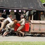 BBC crew pushing the explosives waggons at Poldark