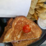duck grilled cheese and chips