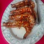 Freshly grilled tiger prawns