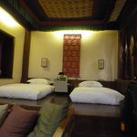 sleeping area of the room