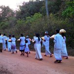 Procession to the neighboring temple at the end of Poson Poya