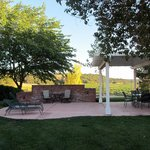 Farmhouse terrace with bbq, dining and close up vineyard views