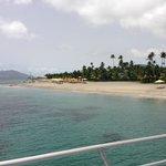 The beach in front of the Garden & Ocean Pools & Cabana restaurant.