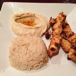 Chicken kabob w/ hummus and rice