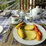 Fruit plate and tea at breakfast