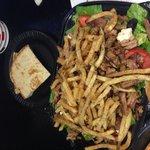 Plaka salad with plaka gyro meat, plaka style
