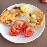 Pizza, potatoes with cream and chicken/peppers in thin pastry TASTY!