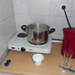 Small electric hob and kettle