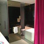 Bathroom curtain, no door