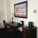Desk area with fridge