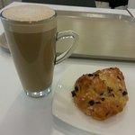 Latte and Marlborough bun at Waitrose cafe