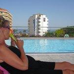 Uitzicht vanaf 3e verdieping bij het zwembad