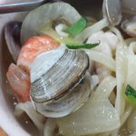 nice seafood noodles outside the hotel