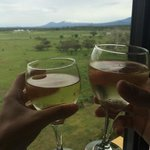 glasses of wine sent to our room for our honeymoon and beautiful view of the mountains out our w