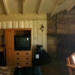 Panoramic view of the Rim Cabin with fireplace