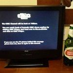 Tv just bigger than a beer bottle.
