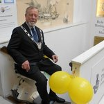 Mayor Milburn on the stairlift