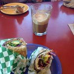 Vegan veggie wrap and vegan latte with soy milk. Delicious!!!