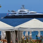 SuperYacht moored off Descanso Beach - another day in paradise