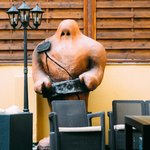 the golem figure which also appears at the enterance of the hotel