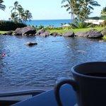 Having coffee in the Hyatt's breakfast area.