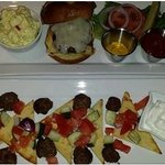 Grass fed burger and Med. meatball plates