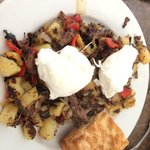 Braised short rib hash with poached eggs