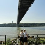 Under the George Washington Bridge with our Bike and Roll bikes!